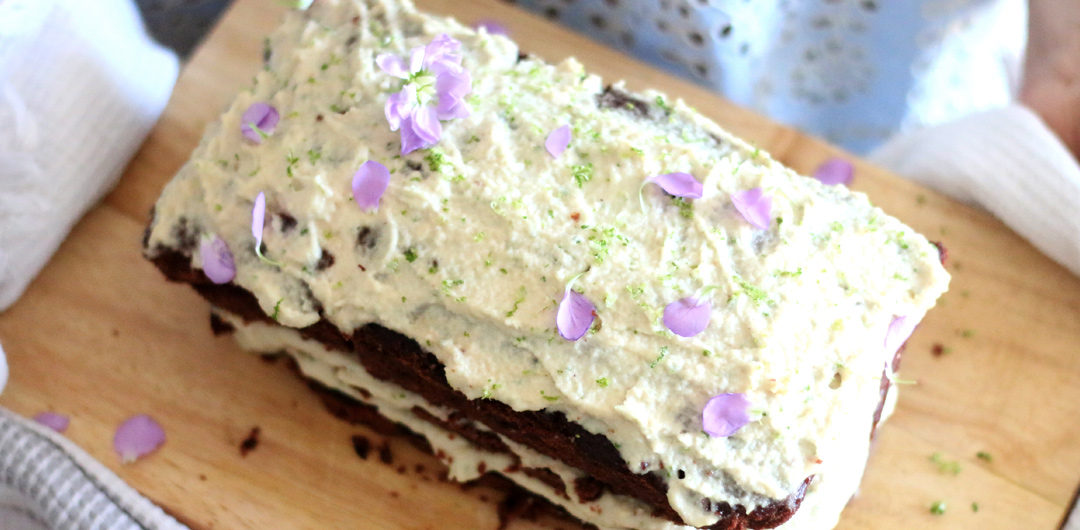 Chocolate sandwich cake with lime cashew frosting